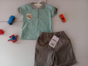 Conjunto Bebê Camisa Polo Infantil Menino Bermuda Chic Chic