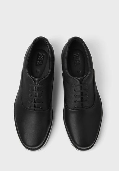 Zapato Original D Cuero Casual De Vestir Negro Zara Talla 44