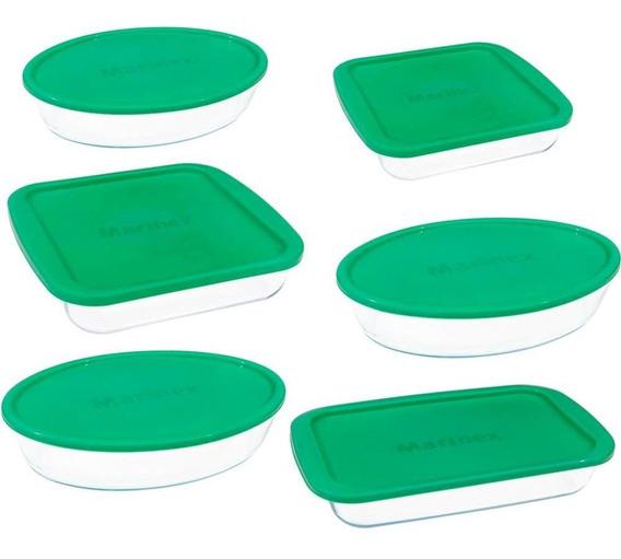 Assadeiras Tampas Verdes Da Marinex, 6 Peças, Vidro - 6221