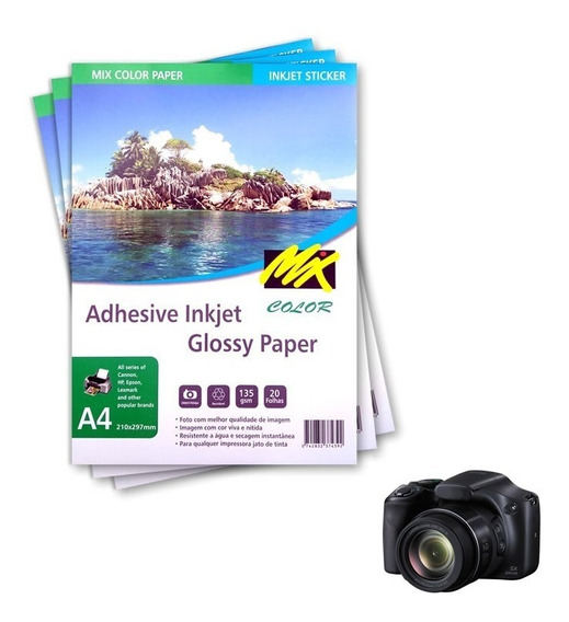 Papel Fotográfico Adesivo A4 135g Glossy 1000 Fls Mixcolor