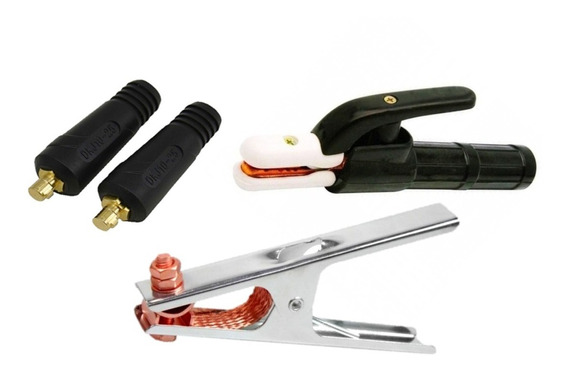 Kit Porta Eletrodo Garra Negativa E Engate Rapido 13mm