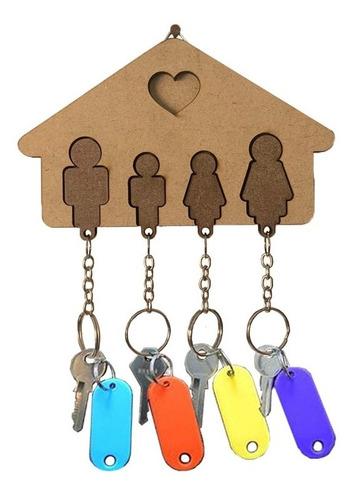 Porta Chaves Casa Família Com Chaveiros De Encaixe