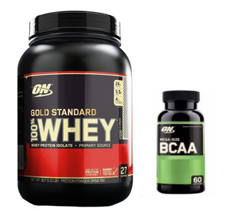 Whey Gold Standard 907g + Bcaa 60 Cáps - Optimum Nutrition