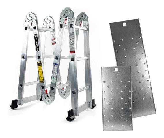 Escalera Multiposiciones Cuprum C-2096-13 Con Andamio 150 Kg