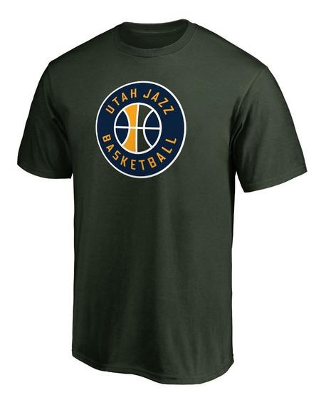 Remera Basket Nba Utah Jazz Logo Alternativo Verde Oscuro