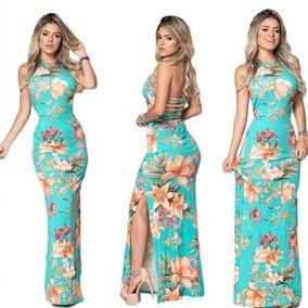 Vestido Longo Estampado Vários Modelos Oferta Roupa Feminina