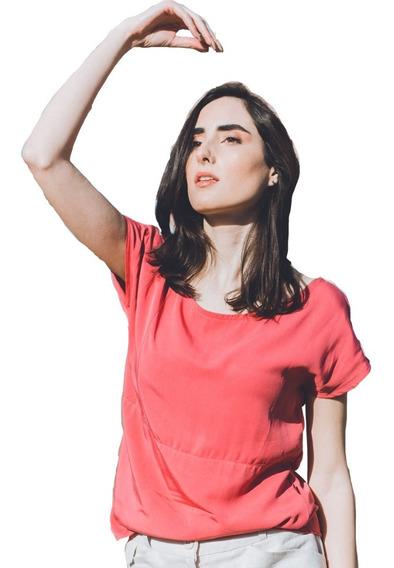 Remera Mujer Rayón Cuello Redondo Manga Corta Largo Cadera
