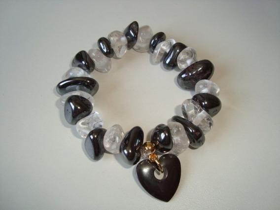Pulseira Elástica Pedra Natural Hematita E Quartzo Cristal