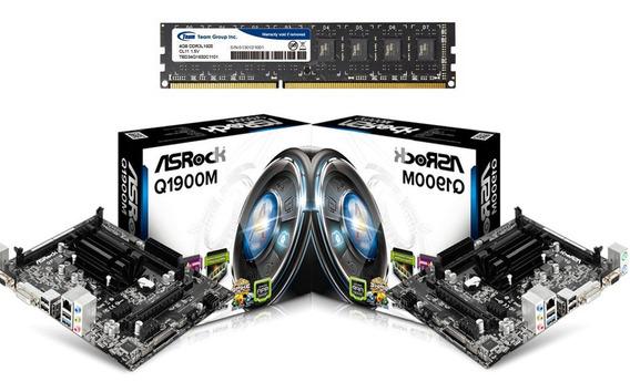 Combo Tarjeta Madre Asrock Q1900m + Proc Quad Core + 4gb Ram