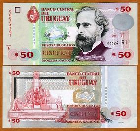Uruguai 50 Pesos Uruguaios 2011 P. 87b Fe Cédula - Tchequito