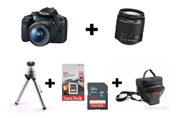 Câmera Canon T7 C/ 18-55mm + Bolsa + 64gb + Tripé