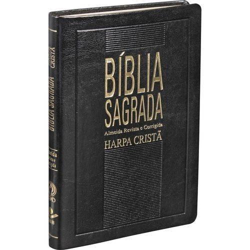 Bíblia Sagrada Slim Super Fina Com Harpa Luxo Preta