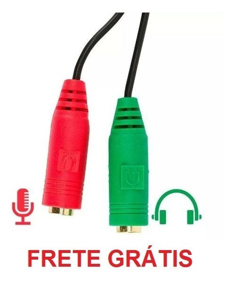 2 (dois) Adaptadores Y P3 P2 Cabo P/ Fone Microfone Headset