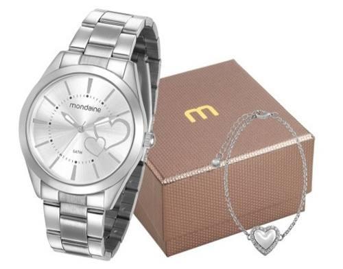 Relógio Mondaine Feminino E Pulseira Prata 53690l0mgne3k1