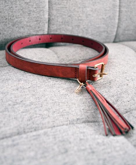 Cinturón Atmosphere Color Bordó Y Flecos Nuevo