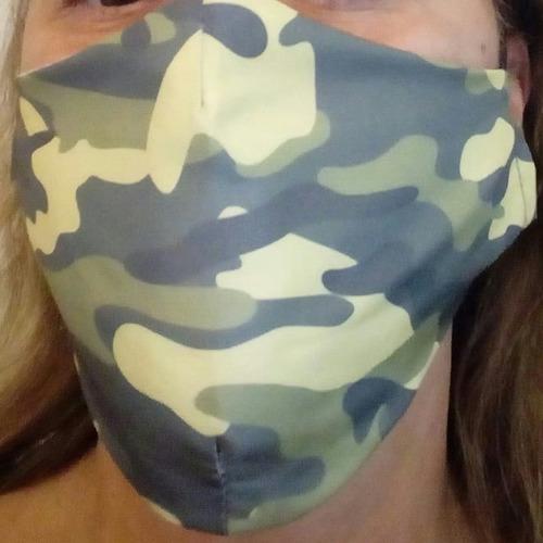 Máscara Camuflado Verde Tactel+algodão Dupla  Kit Com 03 Uni
