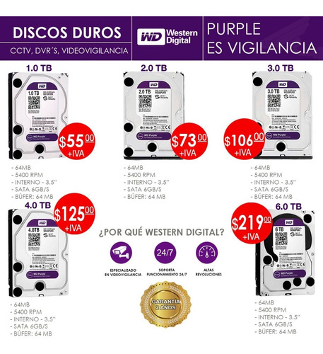 Disco Duro Western Digital 1tb  Interno Purpura Para Dvr