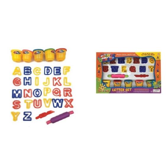 Massinha De Modelar Kit Alfabeto 33 Pçs + Acessorios 5 Potes