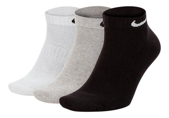 Meia Curta Tripack Nike Cush Low 3pr Preta, Branca E Cinza