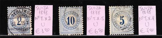 Suiza Lote De 3 Sellos Taxa Ivert Nº Tx 2 / Tx 4 / Tx 5