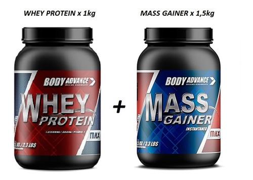 Whey Protein 1 Kg ( Proteína Pura ) + Ganador De Peso 1,5 Kg ( Mass Gainer ). Body Advance.