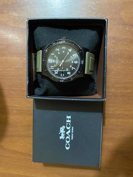 Reloj Marca Coach Original Extensible De Caucho Color Verde