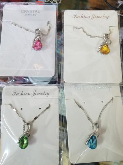 Collar Piedra Cristal Autentico, 5 Colores Disponibles