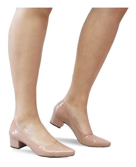 Sapato Scarpin Feminino Salto Baixo Grosso Confortável 600