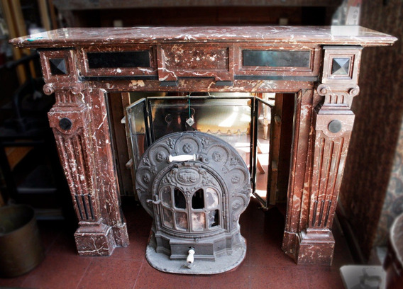 Antiguo Hogar Chimenea Mármol Bordó - Antig La Rueda _ L R