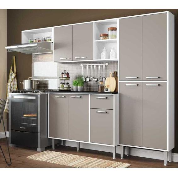 Cozinha Compacta Xangai 9 Portas Multimóveis Br/laca Fumê