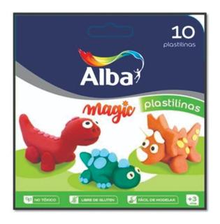 10 Barras Plastilina Alba Caja Colores Surtidos Sin Tacc