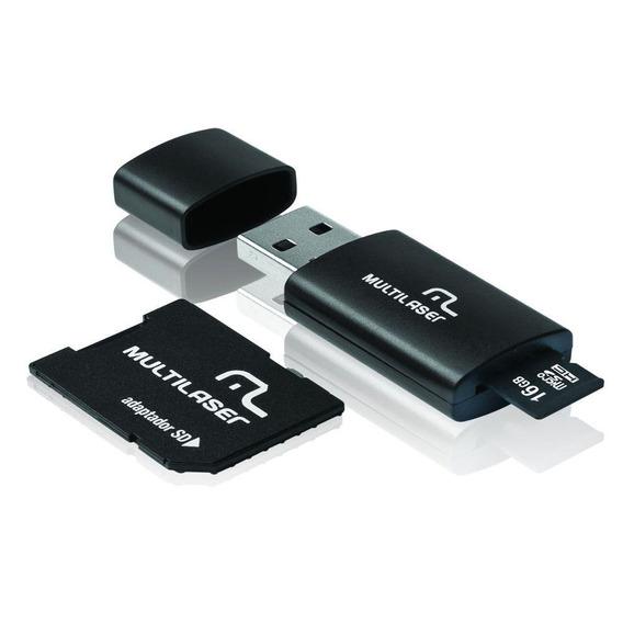 Kit Multilaser Mc112 Com Adaptador Sd + Leitor De Cartão