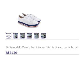 Tênis Modelo Oxford Feminino Em Verniz Branco Tamanho 36