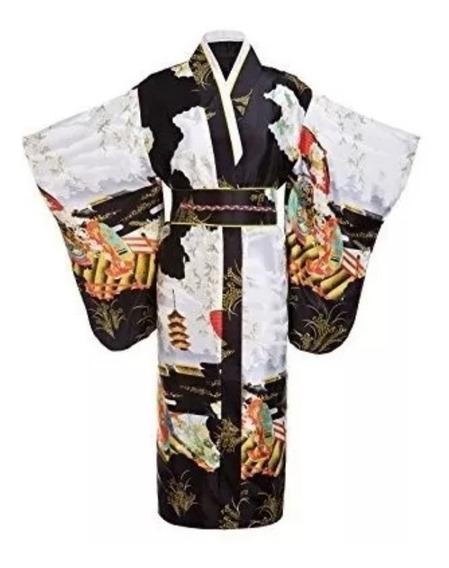 Yukata Kimono Vestido De Geisha Japonesa Importado