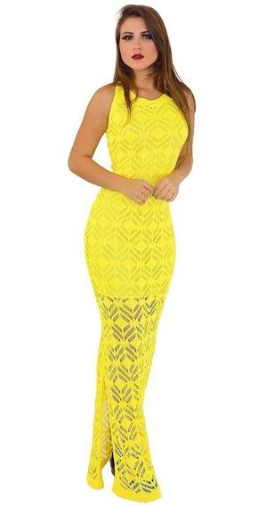 Vestido De Tricot - Croche Estilo Retrô Longo. Ref: 298