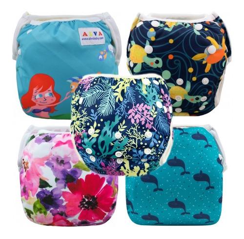 Pañal Piscina Estampado Lavable Ecológico Alva Baby Pack 5