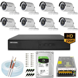 Kit Cftv 8 Câmeras 20m Hd 720p Dvr Hikvision Ds-7216 16 Ch