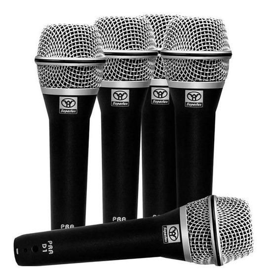 Microfone C/ Fio De Mão Dinâmico (5 Unidades) Prad5 Superlux