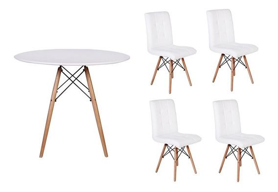 Kit Mesa Jantar Eiffel 100cm Branca + 04 Cadeiras Gomos