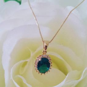 Corrente Com Pedra Esmeralda Banhada Em Ouro 18k