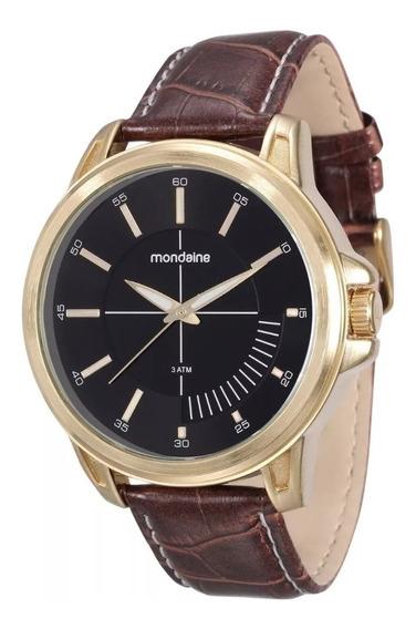Relógio Masculino Dourado Pulseira De Couro Mondaine Preto