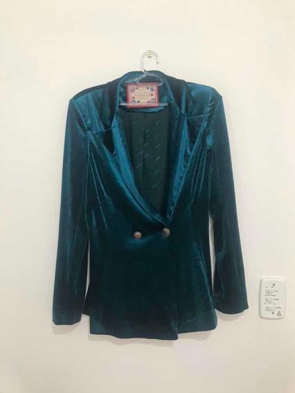 Conjunto Blazer E Short Azul Colcci