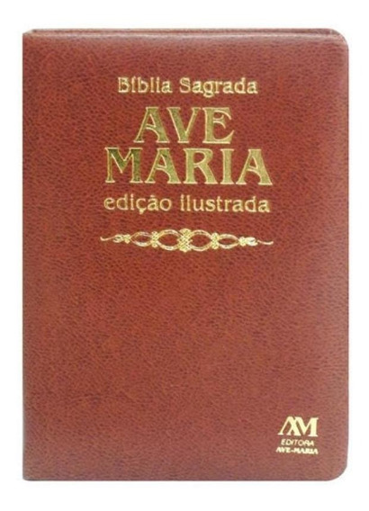 Biblia Sagrada Ave-maris - Ilustrada Luxo - Media - Marrom