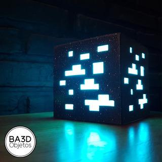 Velador Minecraft Cubo 20x20x20 Mineral Luz Led Rgb Control