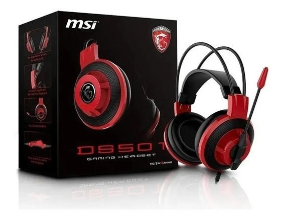 Headset C/ Fio Gamer Msi Ds501 Preto E Vermelho