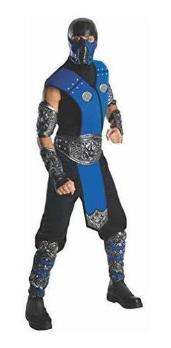 Imagen 1 de 3 de Disfraz De Mortal Kombat Sub Zero Para Adulto, Azul, Talla