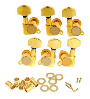 Kit 6 Tarraxa Blindada Violão Guitarra Dourada 3+3 Completo