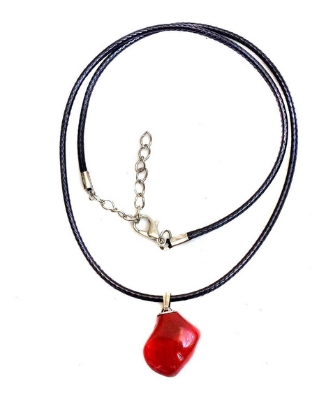 Colar Cristal Pedra Natural Jaspe Vermelho Signos Touro