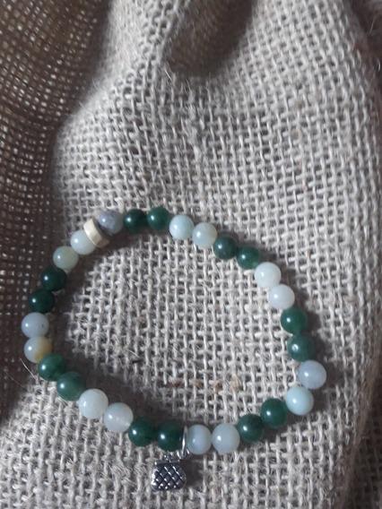 Pulseira Pedras Amazonita ,quartzo Verde, Pingente Em Prata