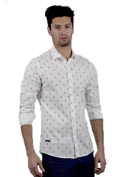 Camisa Manga Larga Entallada Anclas | Moha (130270)
